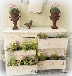 What to do with that old dresser? Up-cycle it to the garden, of course! We'll help you create nameplates for your plants, perfect for a small herb garden. (photo: Bella's Rose Cottage)