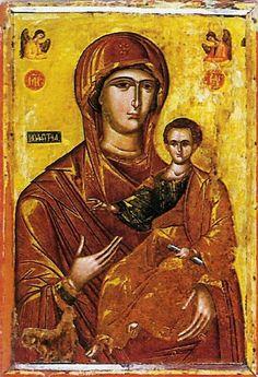 Mother of God Hodegetria, icon from C - Cretan School Religious Icons, Religious Art, Jesus E Maria, Black Art Pictures, Byzantine Art, Art Thou, Orthodox Icons, Christian Art, Modern Art