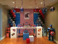 Captain America Birthday Party Ideas | Photo 2 of 32 | Catch My Party Captain America Party, Captain America Birthday, My Son Birthday, 6th Birthday Parties, Kid Parties, Party Themes For Boys, Sesame Street Birthday, Superhero Party, Balloon Decorations