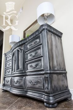 """Hand painted Dresser in a finish I call """"Iron Throne"""" which is layers of Annie Sloan Chalk Paint, Graphite and Paris Grey finished with Clear Wax, Black Wax and Dark Silver Gilding Wax. https://www.facebook.com/refurbishedgentleman/ The step by step instructional video can be seen on Furniture Painting University very soon. http://furniturepaintinguniversity.com/2017/ #chalkpaintedfurniture"""