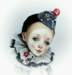 Купить Кисейное Пьеро. Авторская интерьерная коллекционная кукла ручной работ - кукла, куклы