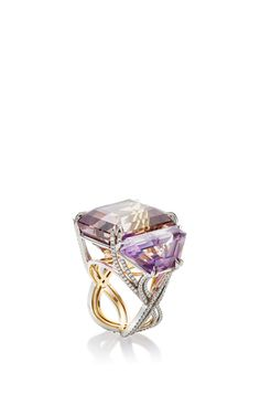 Asymmetrical Ametrine And Diamond Three Stone Ring by ALEXANDRA MOR Now Available on Moda Operandi