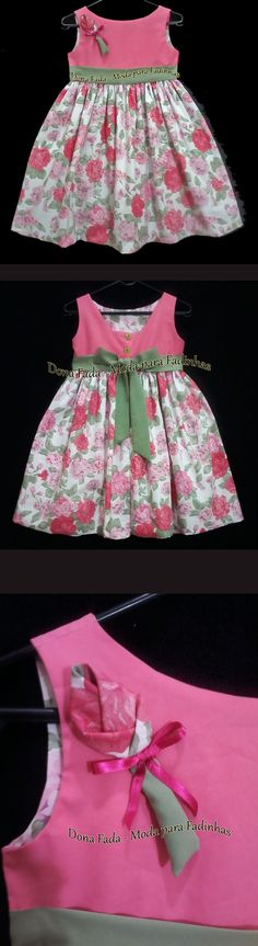Vestido Floral Pink - 6-7 anos - - - - - baby - infant - toddler - kids - clothes for girls - - - https://www.facebook.com/dona.fada.moda.para.fadinhas/