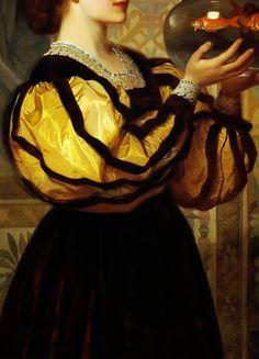 INCREDIBLE DRESSES IN ART (91/∞)The Goldfish Bowl by Charles Edward Perugini