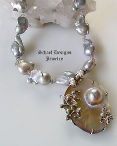 Nucleated freshwater pearl, scorolite, & sterling silver necklace with mabe pearl pendant | New Mexico | www.schaefdesigns.com
