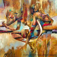"Figure Art Painting - Artist Tim Parker ""Synchronicity"" Abstract Figurative Artwork Print"