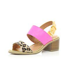 Girls brown print colourblock chunky heels