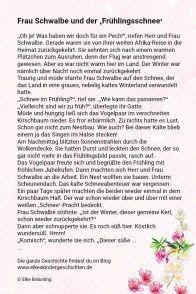 Frau Schwalbe Und Der Fruhlingsschnee Geschichten Fur Kinder Kindergeschichten Und Fruhling