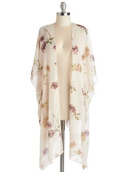 Graceful Efflorescence Jacket. Finding inspiration in the flowers in bloom, you don this kimono-like layer for a delicate addition to your ensemble. #gold #prom #modcloth