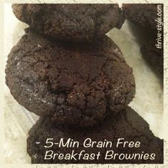 5 Minute Breakfast Brownies! {Grain Free, Gluten Free, Fitfluential, Low Carb, Paleo, Primal, Coconut Flour, Coconut Oil}