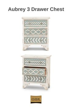 Aubrey 3 drawer chest has well-worn rustic charm in cream and pale blue. 3 Drawer Chest, Rustic Charm, Drawers, Design Inspiration, Cream, Blue, Furniture, Home Decor, Creme Caramel