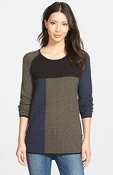 NIC+ZOE 'Telegraph' Side Zip Colorblock Sweater (Regular & Petite)