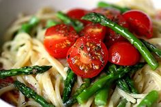 Pasta with roasted tomatoes and asparagus.