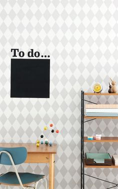 Ferm Living behang / wallpaper. Harlequin Grey / Grijs. Kinderkamer ...