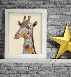 Nursery art   Multicolored Giraffe  Wall Art for by LoopyLolly