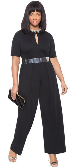 Plus Size Pleated Jumpsuit with Keyhole