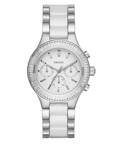Dkny Stainless Steel and Ceramic Watch Women's Silver/White