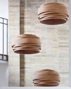 Design lampshades handmade of wood veneer. Wood Pendant Light, Pendant Lamp, Pendant Lights, Metal Ceiling, Ceiling Lamp, Cloud Lamp, Bamboo Lamp, Compact Fluorescent Bulbs, Handmade Lamps