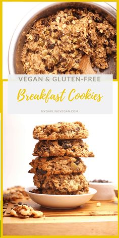 No coconut oil! Sub almond butter or applesauce.😉 Start your day off with these superfood-packed gluten-free vegan breakfast cookies. Made in just 30 minutes for a breakfast or snack that will fuel you up all morning long. Vegan Breakfast Smoothie, Vegan Gluten Free Breakfast, Breakfast Cookie Recipe, Gluten Free Breakfasts, Breakfast Recipes, Gluten Free Bakery, Gluten Free Sweets, Vegan Sweets, Vegan Desserts