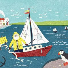 Regram from @boden_clothing who have my seaside illustration on their Mini Boden website! #illustration #boden #clothing #textiles #seaside #louiselockhart #colour #fisherman #sea #puffin #miniboden