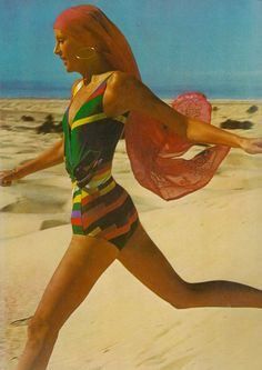 Margaret Broderick by Arnaud de Rosnay for Vogue UK, 1972. What a gorgeous swimsuit.