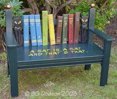 Book bench (by B. G. Dodson).  How awesome is this.  To make it more comfortable, make a cushion that you can remove and take inside.  This bench would also work great as an indoor reading bench