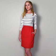 Fab.com | Wool Crepe Tulip Skirt Red