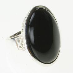 Black Agate Ring Size K - Lyre Studio UK Online Jewellers