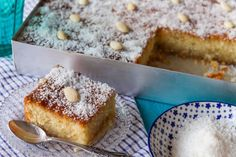 Akis recipe for coconut almond cake in syrup. It can be made with either finely ground almonds or hazelnuts. The perfect sweet to serve. Coconut Recipes, Sweets Recipes, Greek Recipes, Raw Food Recipes, Greek Sweets, Greek Desserts, Bolos Low Carb, Bolo Fit, Processed Sugar