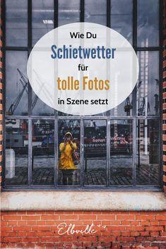 Nur weil ein paar Wolken aufziehen und es vom Himmel tröpfelt, ist das noch lange kein Grund, drinnen zu bleiben. Warum ich gern bei schlechtem Wetter fotografieren gehe und dabei sogar gezielt auf Schietwetter setze, erkläre ich Euch in diesem Artikel mit Foto-Tipps, die Ihr auch ganz leicht mit der Smartphone Kamera umsetzten könnt! #hamburg #iphone #regenmantel British Library, Pompeii, Future City, Smartphone, Movies, Movie Posters, Art Berlin, Outdoor, Iphone