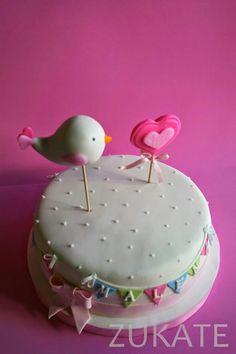 Torta Baby Shower, Heart Birthday Cake, Birthday Cake Toppers, Bird Cookies, Cake Cookies, Valentine Cake, Caking It Up, Girl Cakes, Fondant Cakes