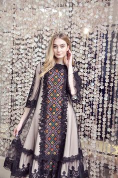 Items similar to Dress with handmade embroidery, evening dress, modern ethno style on Etsy Pakistani Fashion Party Wear, Pakistani Dresses Casual, Pakistani Dress Design, Muslim Fashion, Fancy Dress Design, Stylish Dress Designs, Designs For Dresses, Stylish Dresses, Frock Fashion