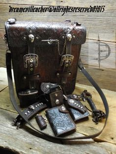 customleather tooled laptop briefcase combo by www.dreamevildesigns.net