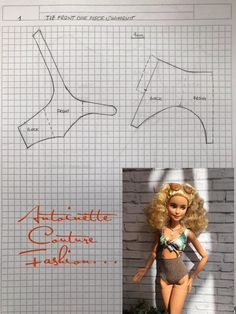 doll dress patterns Fashion Dolls Couture - Unlimited: Tie Front One Piece Swimsuit - Barbie made to move Sewing Barbie Clothes, Barbie Sewing Patterns, Doll Dress Patterns, Clothing Patterns, Diy Clothes, Shirt Patterns, Doily Patterns, Barbie Fashionista, Made To Move Barbie