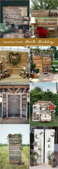 rustic wooden wedding booth backdrop