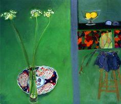Studio: Japanese Plate and Chincherinchees by Elizabeth Blackadder DBE RSA RA
