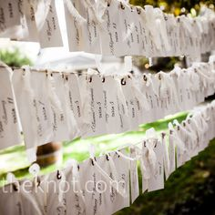hanging tags (maybe against a cork board covered in lace) seating assignments