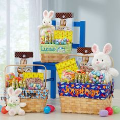 """Our """"egg-stravagant"""" Easter basket is overflowing with a bonanza of scrumptious goodies and a huggable white bunny sporting a dapper bow tie!"""