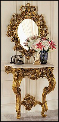 Madame Antoinette Wall Console Table and Salon Mirror from the 17th century, inspired by the french rococo.