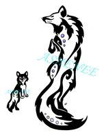 Momma Wolf And Baby Wolf Tattoo Tribal by Ashenee.... I wouldn't do the baby wolf but possibly use this less-evil mama wolf as an example of how I want mine to look. Also I'd want mine less tribal