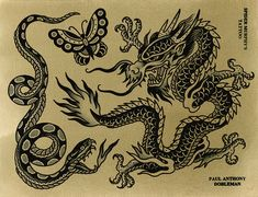 Original works by Paul Dobleman. Ink & watercolor on paper Traditional Tattoo Dragon, Traditional Tattoo Painting, Traditional Tattoo Black And Grey, Traditional Tattoo Design, Traditional Tattoo Flash Art, Traditional Flash, Traditional Styles, American Traditional, Black Dragon Tattoo