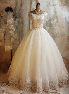 エレガントビーズレースアップリケショルダー夜会服のウェディングドレスオフ 11249962 - ボールガウン ウェディングドレス - Doresuwe.Com
