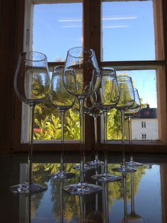 "Ready for wine!  Wineglasses With engraved Hans Børli quotes ""junikveld"""