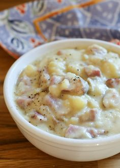 Slow Cooker Mashed Potato and Ham Chowder recipe made with just three ingredients! I'm definitely a fan of this easy soup recipe!