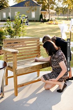 wooden bench as a guestbook to keep in your home forever - you could do so many other things too | CHECK OUT MORE IDEAS AT WEDDINGPINS.NET | #weddings #uniqueweddingideas #unique
