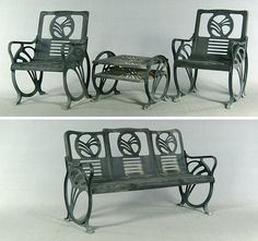 art deco cast iron patio furniture by jacobs mfg co with original art deco outdoor furniture