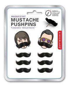 Mustache pushpins