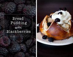 Pretzel bread pudding with blackberries