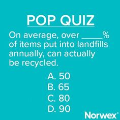 Did you know that the amount of trash buried in landfills has doubled since 1960? Most of which can be Reduced, Re-used, #Recycled, or Composted. If you answered B, you are correct!