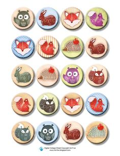 1 x 1 inch circles Forest Friends Digital Collage Sheet for bottle caps. Printable fox, squirrel, owl animals.  Digital woodland download. $4.20, via Etsy.